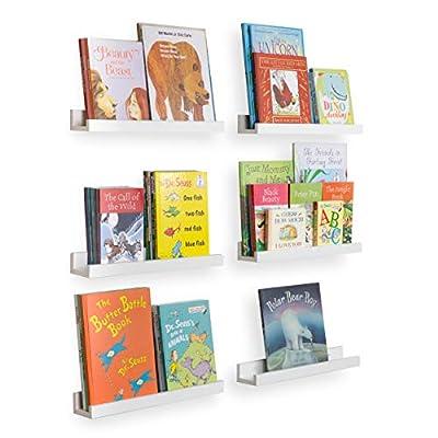 Wallniture Denver Floating Shelves for Wall, White Bookshelf for Kids' Room Decor, 17 Inch Picture Ledge Shelf Set of 6