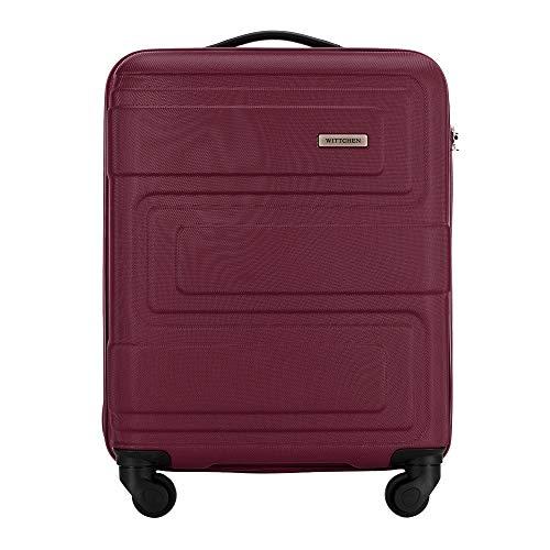 WITTCHEN Stabiler Koffer Trolley Handgepäck Bordgepäck Bordcase Kleiner Koffer 4 Rollen Zahlenschloss Hartschalen Gummigriffe Burgund