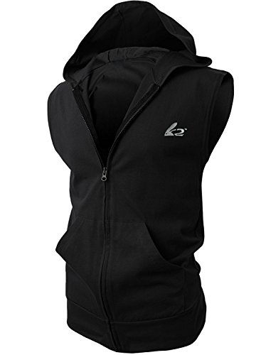 Men's Sleeveless Workout Hoodie Zip-up Vests Gym Bodybuilding Lifting Tank Tops(XL,Black)