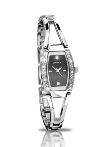 SEKONDA 4355.27 - Reloj analógico para Mujer de Acero Inoxidable Resistente al Agua Negro