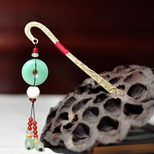 Shability Chinesischer Stil Bookmarker Hellgrün Jaade Friedensschnalle Metall Lesezeichen Original Ethnische Schmuck yangain