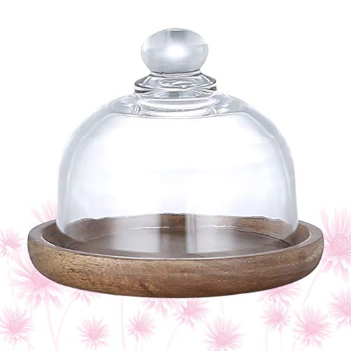 Yardwe Mini Wooden Butter Dish Single Cupcake Stand Dessert Dome Tray Plate Wood Serving Trays Cake Stand with Glass Dome for Home
