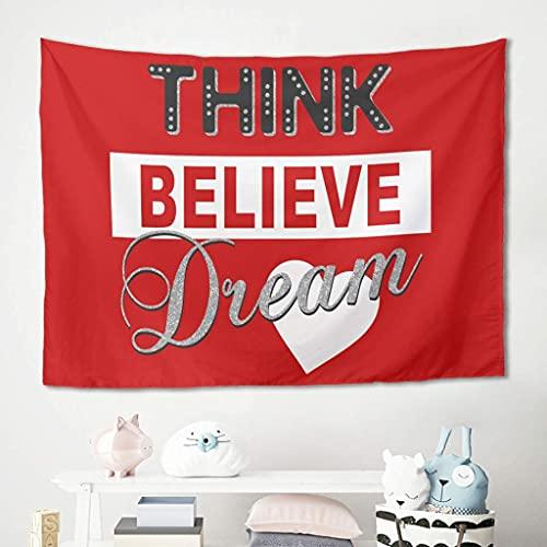 Superior Faith Dream Text - Tapiz para colgar en la pared, color rojo, manta de picnic, manta de playa, meditación, yoga, mantel de fibra de poliéster, mantel blanco 100 x 150 cm