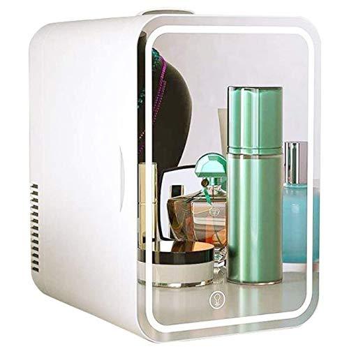 MZBZYU Mini Refrigerador 8 l Portátil Pequeña Nevera Silencioso Espejo de Maquillaje con Luz Led, Refrigerador Más Frío/Caliente, para Dormitorio, Oficina, Coche