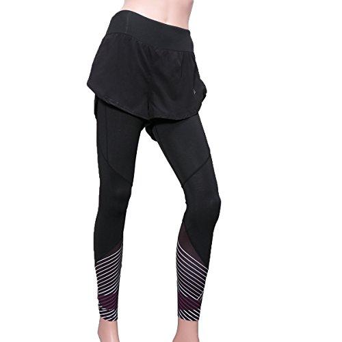OULII Femmes taille haute collants Sports d'entraînement Running Leggings taille S (noir et blanc)