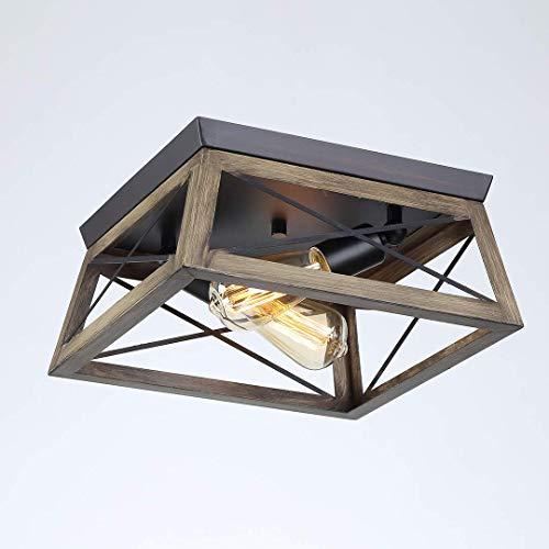 BFDMY Lámpara Empotrada con Marco Cuadrado Marrón De Granja E27 * 2 Lámpara De Techo,Lámpara De Techo De Madera Industrial Adecuada para Cocina,Comedor,Dormitorio,Pasillo Y Pasillo