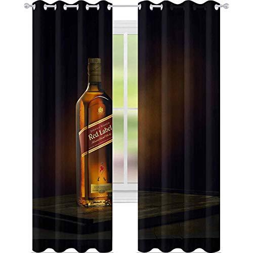 YUAZHOQI Cortinas opacas Phuket Tailandia febrero Johnnie Walker etiqueta roja mezclada whisky aislado sobre fondo de color Johnnie W 132 x 241 cm drapeado para sala de estar