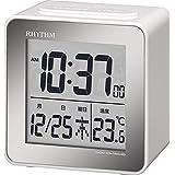 リズム時計 目覚まし時計 電波 デジタル 小さい かわいい フィットウェーブD158 小型 ミニ キューブ タイプ 白 RHYTHM 8RZ158SR03