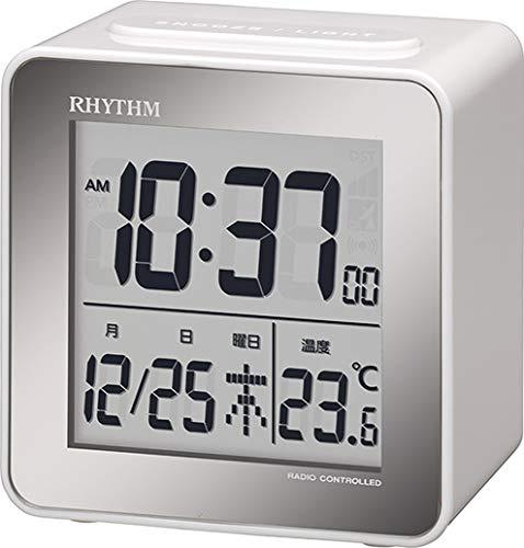リズム(RHYTHM) 目覚まし時計 電波 デジタル 小さい かわいい フィットウェーブD158 小型 ミニ キューブ タイプ 白 RHYTHM 8RZ158SR03