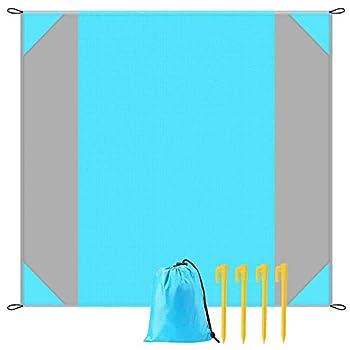 YZCX Tapis de Plage 210 X 200 CM Imperméable Anti-Sable Pliable Tapis de Plage Couverture Portable avec 4 Piquets et Sac de Stockage Postuler à Plage Camping Picnic Voyage Randonnée