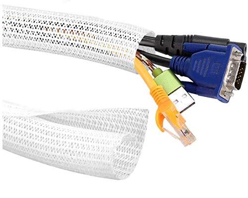 SSPECOTNR Kabelkanal Selbstschließend Kabelschlauch 3M Lang 6MM Durchmesser Kabelschutz Zuschneidbar Kabelschlauch für Ladekabel Fahrrad Auto Verstecken im Schreibtisch TV Boden Weiß