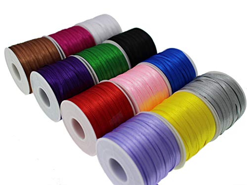 Jesep 1/8' Soild Satin Ribbon Boutique Gift Wrapping Package Ribbon, DIY Crafts, Balloons, Florists, Showers Ribbon Assorted Colors Ribbon (Pack of 12)