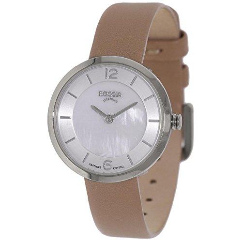 Boccia Damen Digital Quarz Uhr mit Leder Armband 3266-01