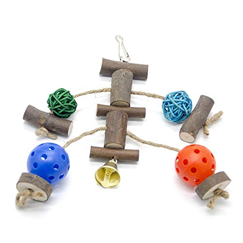 ZYP 7 Packs Natural Bird Chewing Swing Toys, Camphor Wood Parrot Hammock Platform Hanging Bell Cage Toys for Parakeets, Cockatiels, Conures, Finches, Budgie, Macaws