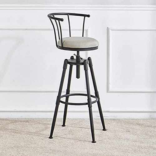 WWJ Przemysłowy stołek barowy z regulacją wysokości Krzesło barowe Obrotowe stołki barowe Blat kuchenny Stołek z oparciem, krzesło do jadalni z podnóżkiem, zestaw 1