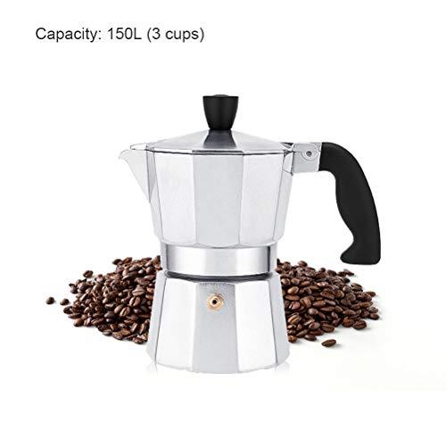Espressokocher, Espressokanne Klassischer Espresso Maker Aluminium maschine 150 / 300ML Kaffeemaschine für Gas, Elektro-Herd und Ceran-Feld