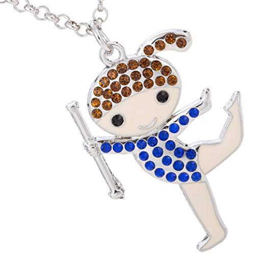 Collana con ciondolo a forma di ballerina di ginnastica ritmica, con cristalli, da ragazza e donna e Lega, colore: chestnut+blue, cod. unknown