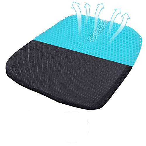 Bomup Gel Seat Cushion with Non-Slip Cover, Honeycomb Design Seat Cushion, Ventilation Breathable for Pressure Relief Back Pain, Gel Cushion for Home Office Car Wheelchair