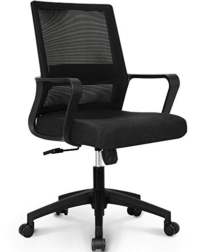 NEO CHAIR Office Chair Ergonomic Desk Chair Mesh Computer Chair Lumbar Support Modern Executive Adjustable Rolling Swivel Chair Comfortable Mid Black Task Home Office Chair, Black