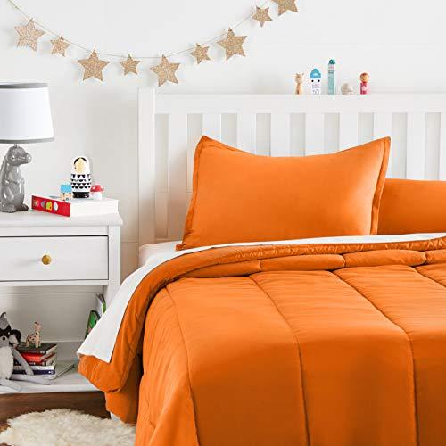 Amazon Basics Easy-Wash Microfiber Kid's Comforter and Pillow Sham Set - Full or Queen, Bright Orange