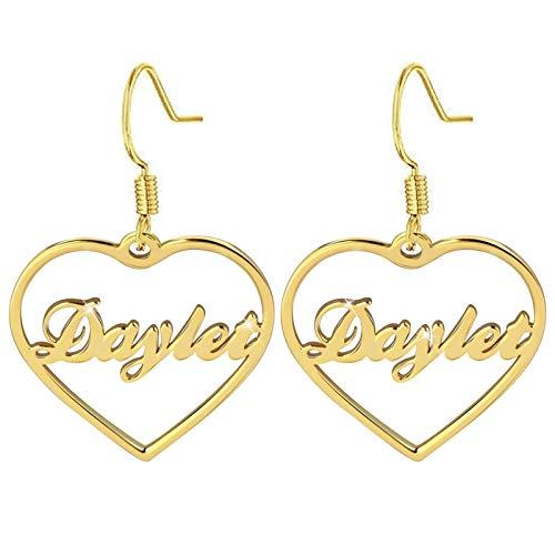 Pendientes con nombre Colgante de corazón Pendientes con nombre grabado Pendientes personalizados Gota para el oído(Oro 3.15)