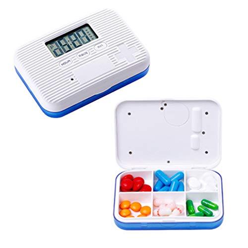 YAOXI Pill Box Portable 6 Girds Pill Organizer Case Medicine Storage Dispenser Digital Alarm Reminders Tablet Pill Box Medical Tools Holder,Blue