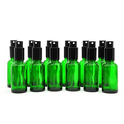 Yizhao 1oz Green Glass Spray Bottle for Essential Oils,Empty Refillable Spray Bottles with Fine Mist for Aromatherapy,Perfume,Massage,Hair,Pet,Chemical–12 Pcs