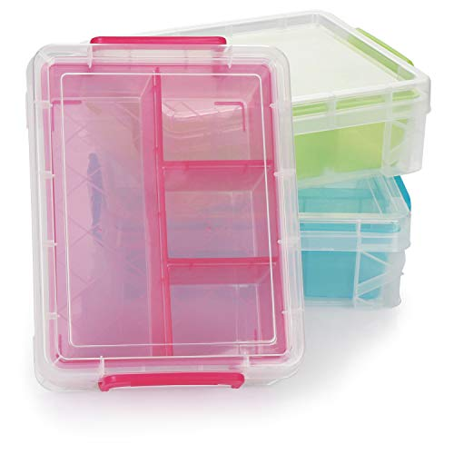 com-four® Caja de Plástico con Compartimentos Separados - Caja Clasificadora de Organización - Caja Organizadora de Plástico con Tapa - Caja de Almacenamiento (03 Piezas - Caja de Almacenamiento)