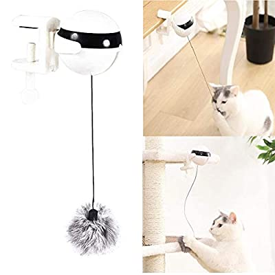 Aoweika Interactive Cats Toy, Cat Teaser Toy Yo-Yo Lifting Ball, Automatic Lifting Cat Toy, Electric Flutter Rotating Toy for Cats, Funny Cat Ball Pet Toy for Kitten or Cat(Battery not included)
