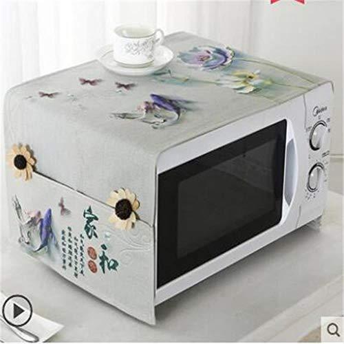 Gouen Housse de Protection pour Micro-Ondes en Coton et Lin avec étui Cuisine Poussière d'huile Étanche Double Poches Accessoires de Cuisine, A, 100CM X 35CM
