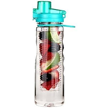 Fruit Infuser Water Bottle 25 oz Leak Proof Flip-top Sport Water Bottle BPA-Free Tritan 25 Oz (Turquoise )