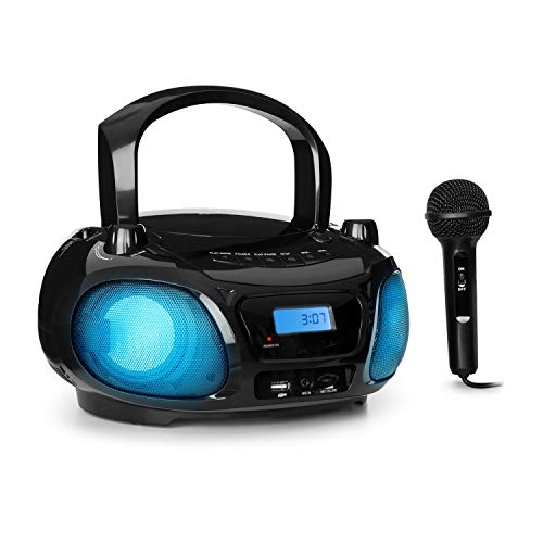 AUNA Roadie Sing - CD-Radio, Stereoanlage, Boombox, CD-Player, USB-Anschluss, MP3, FM-Radio, Bluetooth 3.0, LED-Beleuchtung, Batterie- oder Wechselstrombetrieb, Sing-A-Long-Funktion, Schwarz