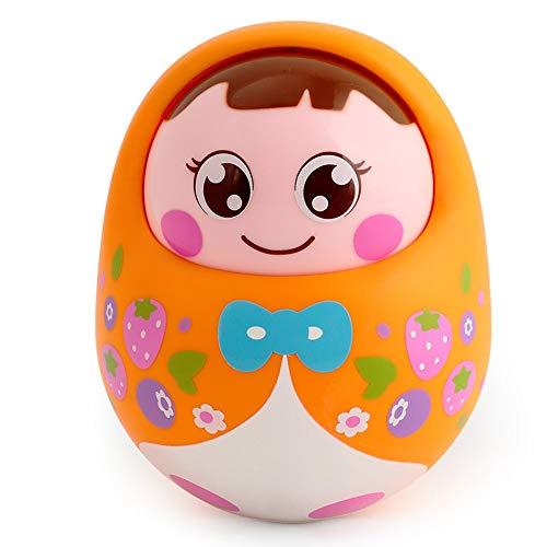 Lihgfw Große Trommel mit Voice Wackelpuppe Netten Säuglingsbaby pädagogischen Spielzeug 0-4 Jahre Alten Kinder Geschenk Nickend Funktion Crisp Klingelton (Color : Orange Cute Baby)