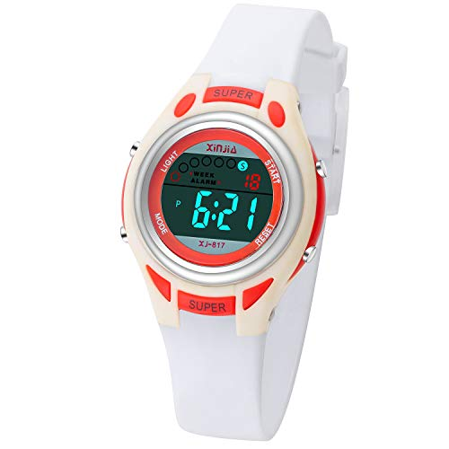 Kids Digital Watches Waterproof Girls Sport Digital Watches for Boys Backlight Wristwatch with Alarm Stopwatch Best Gift for Child Girls Boys Multi Function Wrist Watch (White & Red)