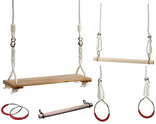 KSS Großes Turnschaukel Set Trapez, Schaukel, Ringe mit 12 mm PE Seile Schaukel