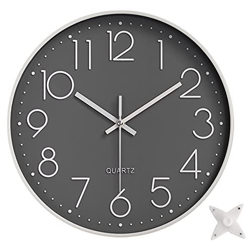 Taodyans - Reloj de pared silencioso de 30 cm, sin tictac, de cuarzo, funciona con pilas, moderno y redondo, para oficina, aula, cocina, sala de estar o dormitorio