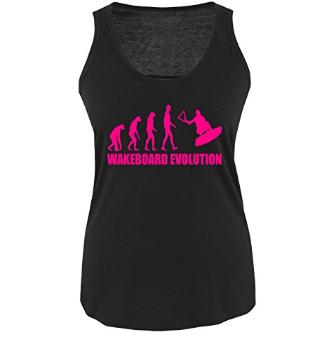 Wakeboard Evolution - Damen Tank Top Shirt Schwarz/Pink Gr. S
