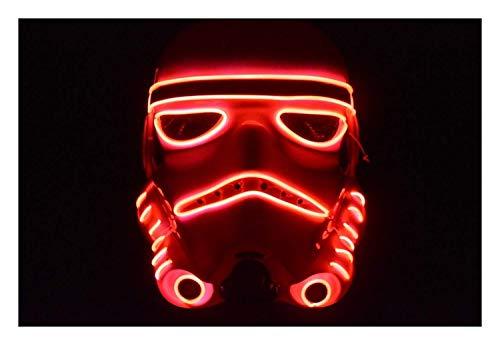Trippy Lights LED Light Up Storm Trooper Movie Half Helmet Halloween Mask (Red)