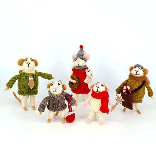 B & D Combined Inc. Hand Crafted Wool Mice Family Christmas Tree Ornaments for Home Holiday Christmas Hanging Decorations Wedding Gifts