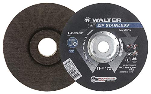 Walter 11F162 ZIP Stainless Cutoff Wheel - [Pack of 25] A-60-SS ZIP Grit, Type 27, 6 in. Abrasive Wheel for Cutting Pipes, Hard Surfaces