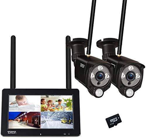 """【PIR+Audio+Touchscreen】 Tonton Überwachungskamera Aussen WLAN 7\"""" Zoll TouchMonitor NVR mit Akku 2 * 1080P WiFi Überwachungsset Innen, Zwei-Wege-Audio, aufladbare Batterie, Pre-Aufnehme, 32G SD Karte"""