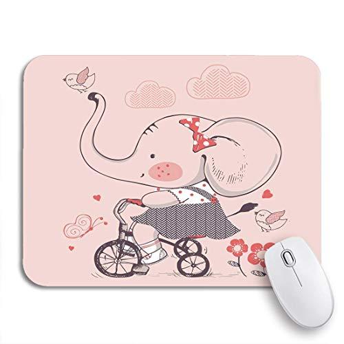 Gaming mouse pad bunter elefant des niedlichen mädchens reiten fahrrad dreirad kind rutschfeste gummi backing computer mousepad für notebooks maus matten