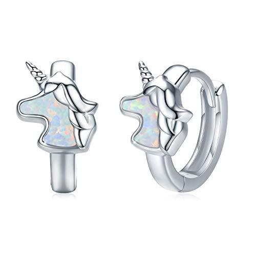 Einhorn Ohrringe 925 Silber Opal Mädchen Ohrringe Kleine Creolen Kreis kinder ohrringe für mädchen Damen