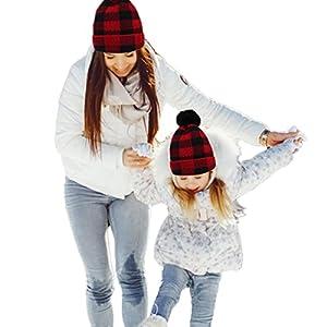 Parent- Child Hat Warmer, Christmas Mother Baby Daughter Son Plaid Hat Winter Knit Hat Crochet Beanie Ski Cap (Kid)