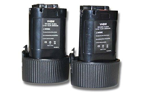 2x Baterías Li-Ion 2000mAh 10.8V marca vhbw para MR051, MR051W, RJ01, RJ01W, TD090D, TW100 sustituye Makita 194550-6, 194551-4, BL1013, BL1014.