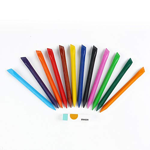 Eagle 12-Color Erasable Crayons, With Eraser, Triangle Shaped, Back to School Supplies, Perfect for Coloring and Sketching