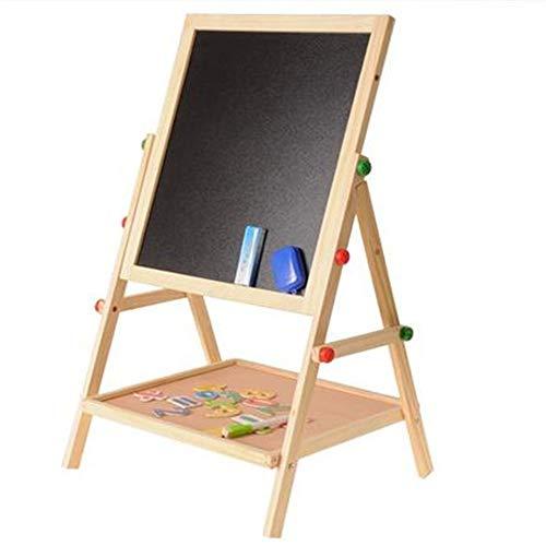Uiophjkl Kindertekenplank In één paneel Children's dubbelzijdig magnetisch krijtbord multifunctioneel steigers houten tablet