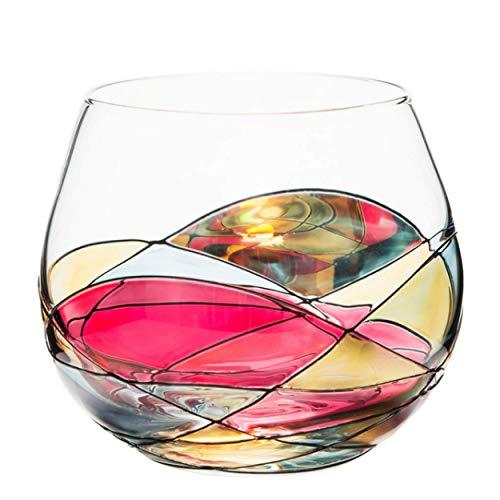 ANTONI BARCELONA Stemless Wine Glasses Set of 1 (21.5 Oz) - Handblown & Handmade, Painted Red Wine Glass, Gifts for Women, Birthdays, Anniversaries, and Weddings - 1 Unit