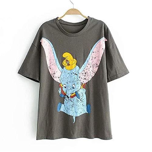 Sommer Frauen T-Shirt Cartoon Dumbo Grau O-Ausschnitt Kurzarm Streetwear Tops Für Frauen LustigGedruckt Rein Grau Tops