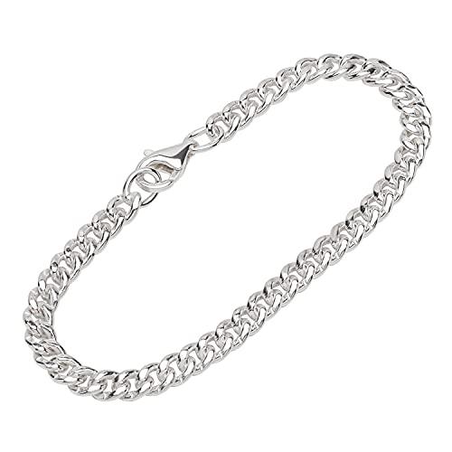 NKlaus Pulsera de plata de ley 925 de 19 cm para hombre, cadena de diseño, 12160